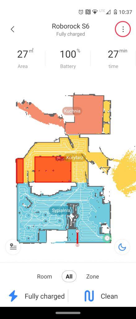 Aplikacja Mi Home z mapą mopowania