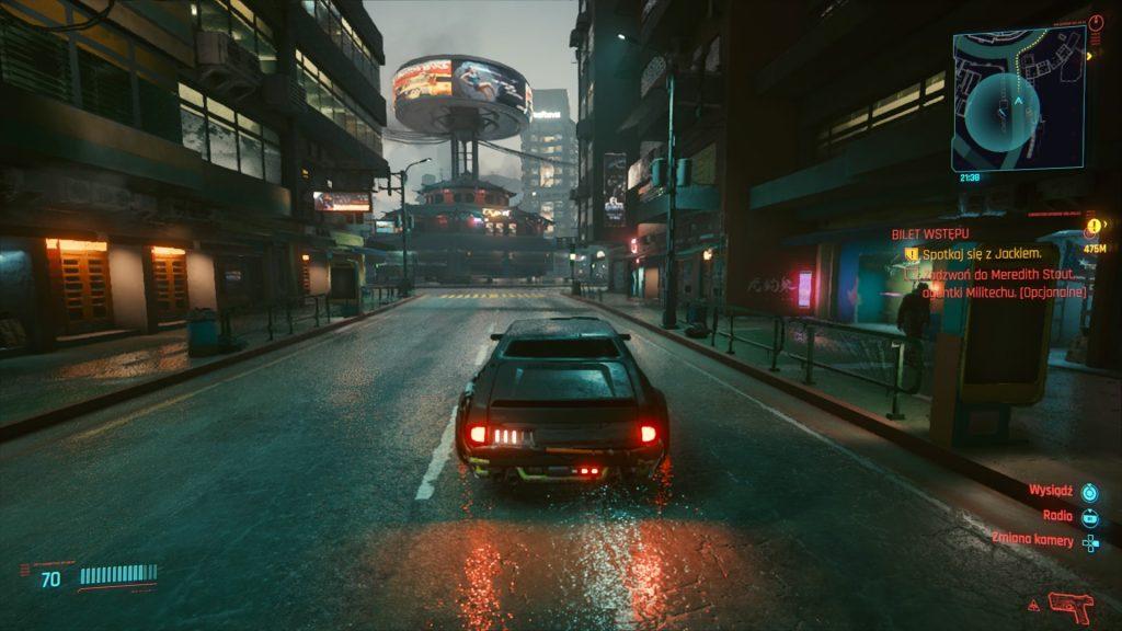 jazda samochodem nocą w cyberpunku 2077 na playstation 4
