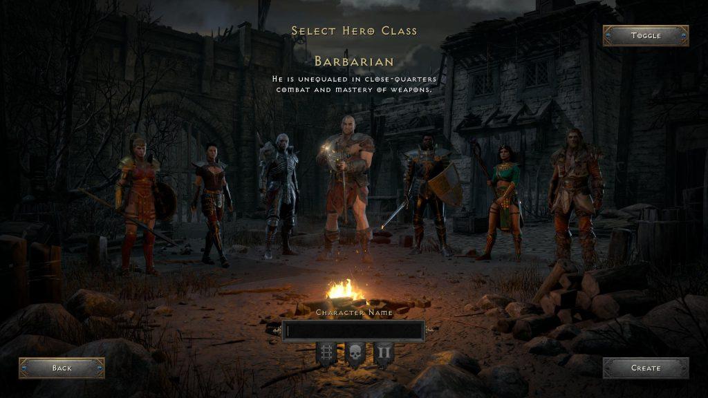 ekran wyboru postaci w diablo 2 resurrected