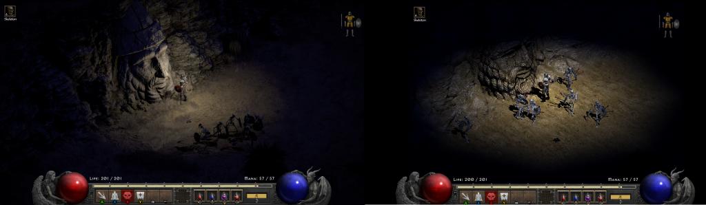 różnica w grafice pomiędzy diablo 2 resurrected i oryginałem