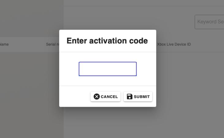 wpisanie kodu aktywacyjnego