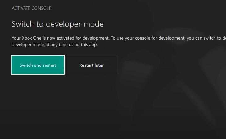 restart konsoli do development mode